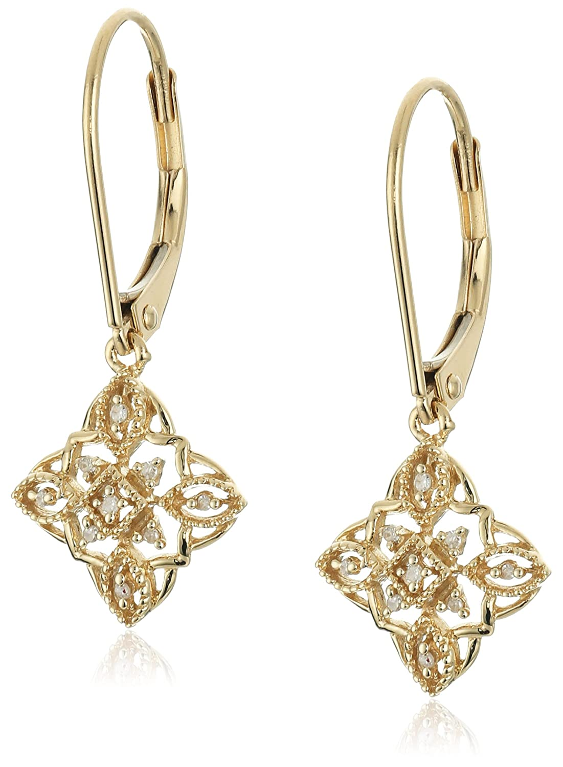 10k White, Yellow or Rose Gold Diamond Lever Back Floral Design Earrings (1/20 cttw, I-J Color, I2-I3 Clarity)