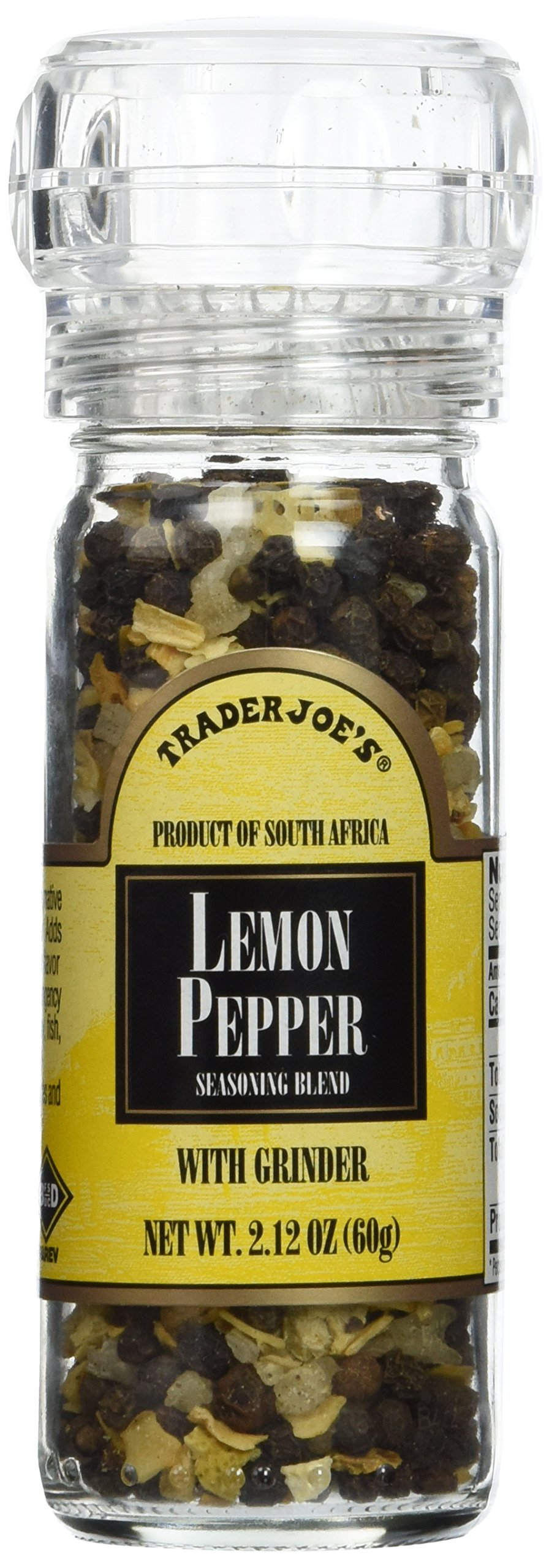 Trader Joe's Lemon Pepper Peppercorns with Grinder -- 2-Pack