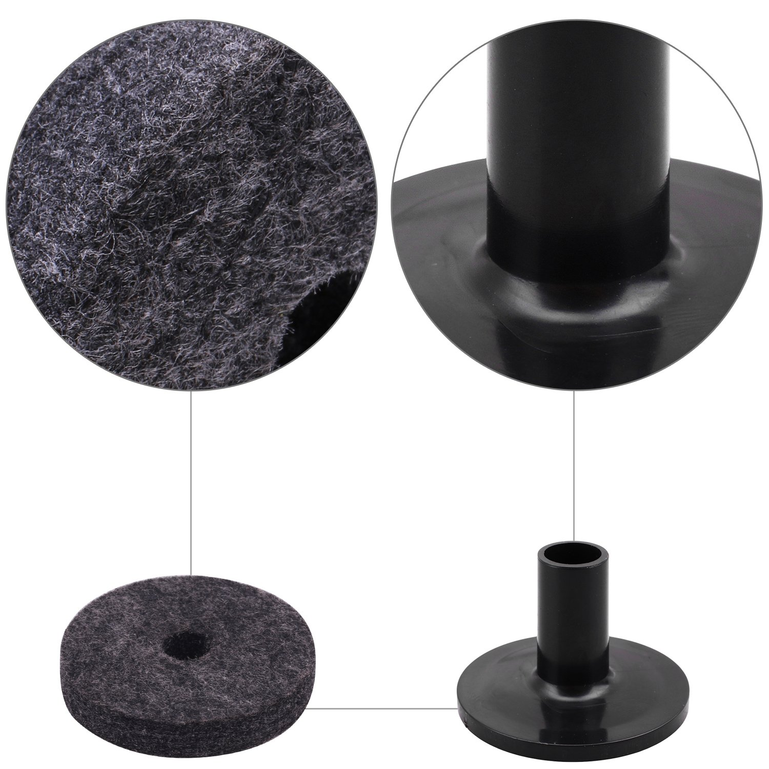 8PCS Cymbal Stand Felt 50mm Washer 2PCS Cymbal SleevesReplacement for Shelf Drum Kit