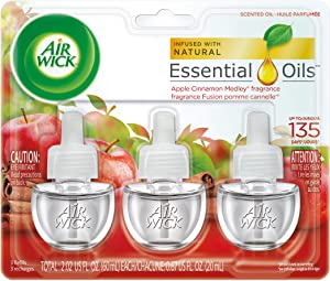 Air Wick Scented Oil Air Freshener, Apple Cinnamon Medley Scent, Triple Refills, 0.67 Ounce (Pack of 2)