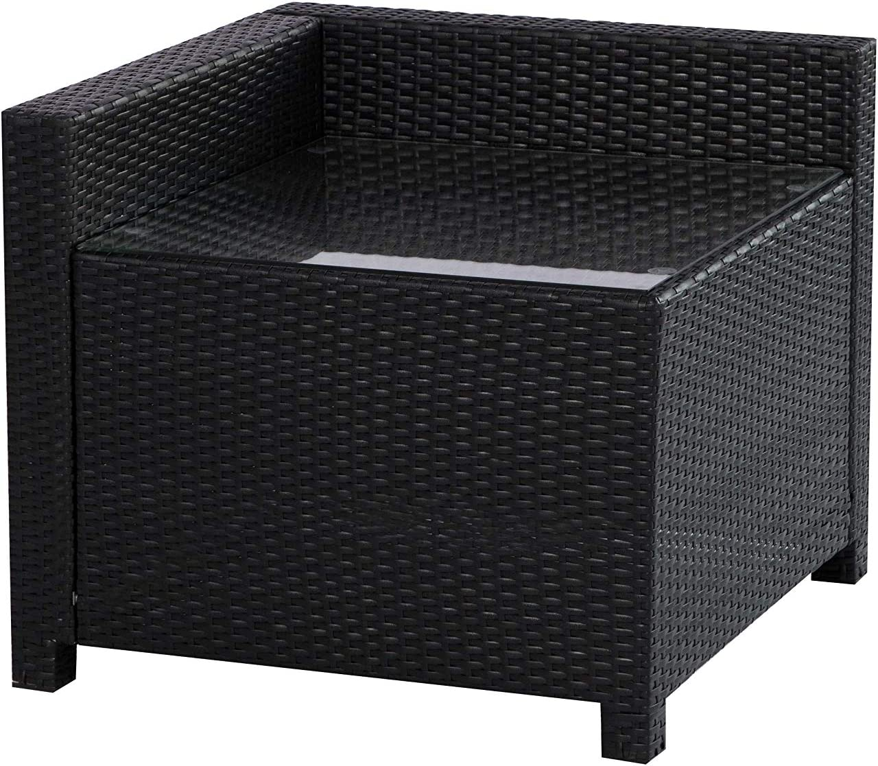 MCombo Wicker Patio Sectional Indoor Outdoor Sofa Corner Table, Black