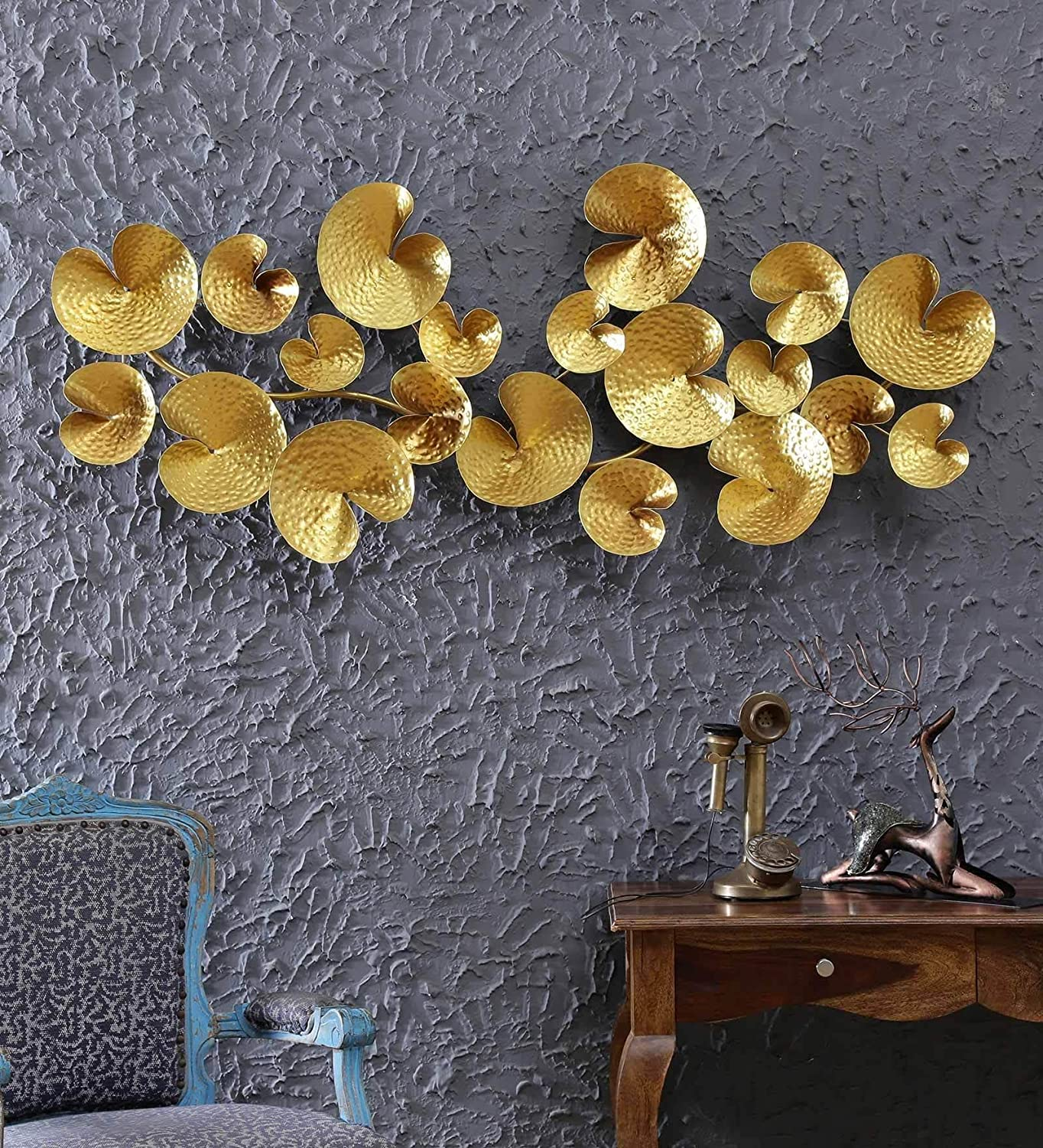 Collectible India Metal Design 3d Golden Abstract Flower Wall Art Sculpture Hanging Round Plates Mounted Modern Arts Home Office Decor Size 56 X 36