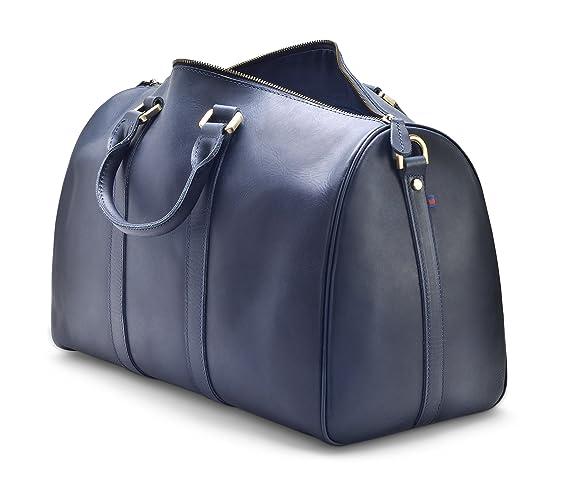 "f5ec2ea3d63a Hølssen Weekender Duffle Bag (Genuine Leather) Overnight Travel Tote w/15""  Laptop Pocket, Dark Blue"