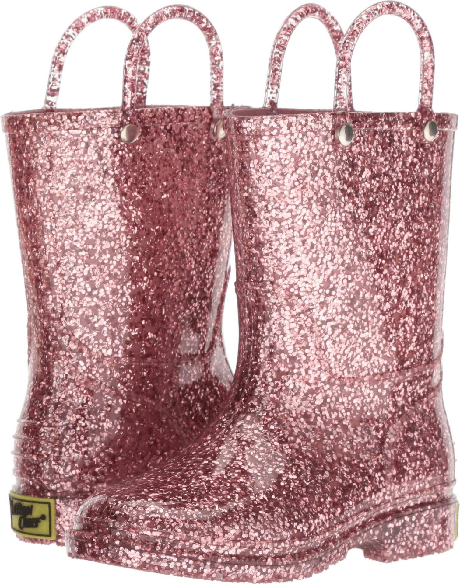 Western Chief Girls' WCK Glitter PVC Rain Boot, Pink 39, 11 M US Little Kid