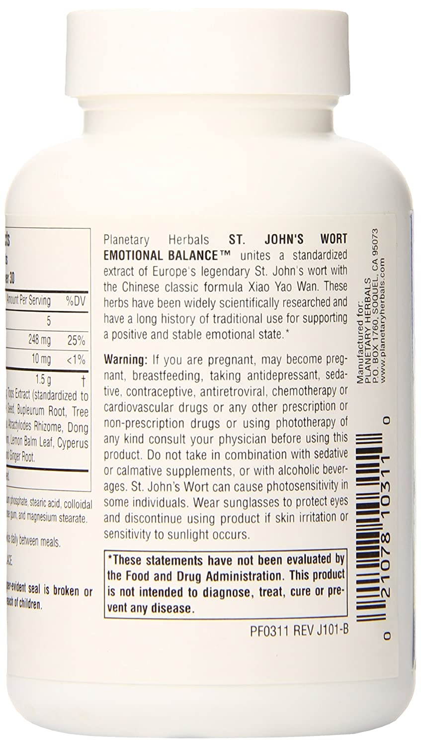 Planetary Herbals St. John s Wort Emotional Balance Tablets, 60 Count