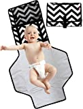 Boo Moi - Portable Baby Changing Mat and Mini Bag - Travel Mat. Lightweight, Waterproof and Durable. Wipe Clean, Cushioned Changing Pad. Black and White Chevron Design. Extra Long Design Suitable for Toddlers