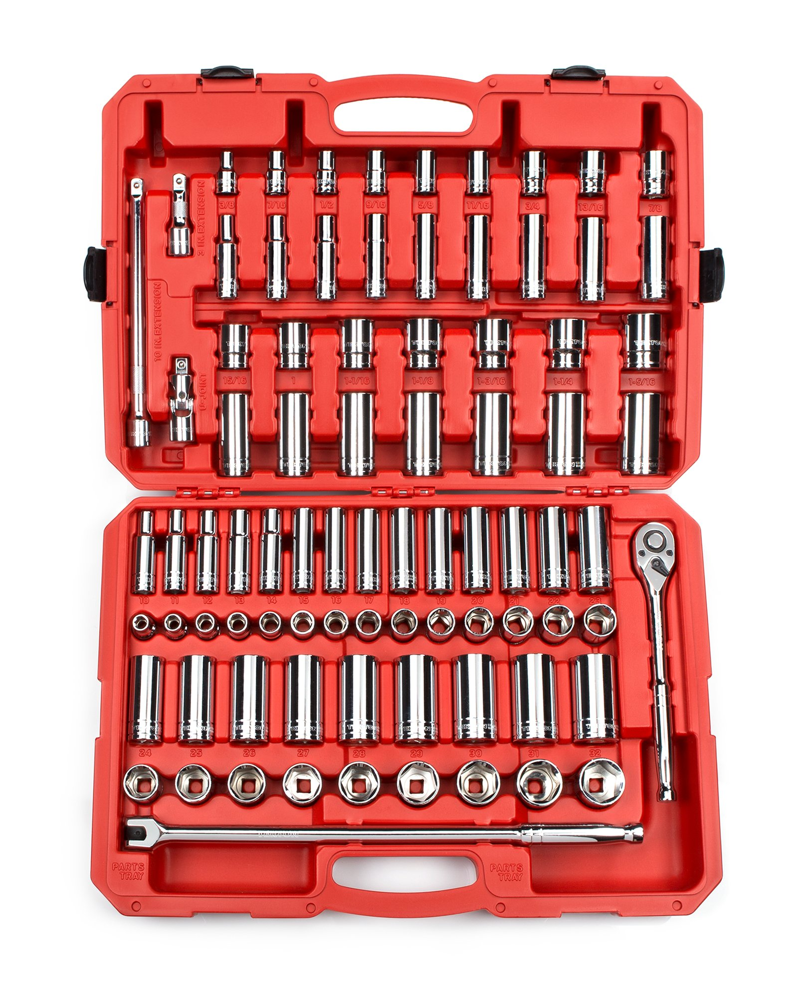 TEKTON 1/2-Inch Drive Socket Set, Inch/Metric, 6-Point, 3/8-Inch - 1-5/16-Inch, 10 mm - 32 mm, 84-Piece | 13203 by TEKTON