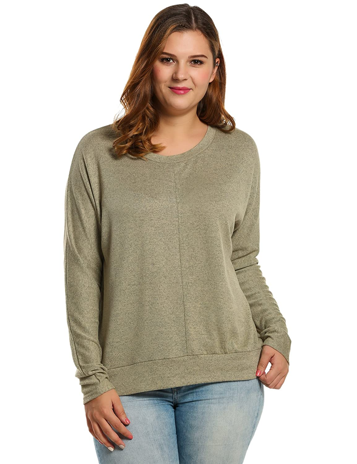 Meaneor Plus Size Long Sleeves Womens Casual Crew Neck Knit Pullover Sweater