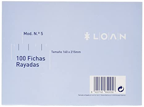 Loan Número 5 - Fichas rayadas, 100 unidades