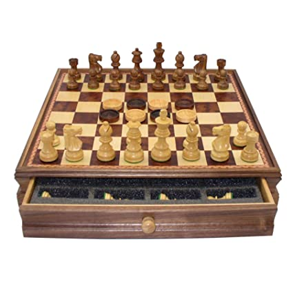 Amazon Com Chess And Checkers Set With Storage Chest Wooden Chess