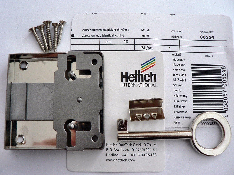 links und f/ür Schublade verwendbar Dornma/ß Hettich Aufschraubschlo/ß rechts 40mm