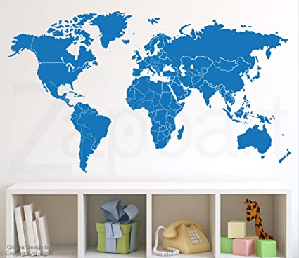 Amazon world map decal w countries borders z053 light blue world map decal w countries borders z053 light blue 48quotw x gumiabroncs Choice Image