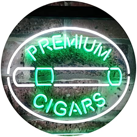 AdvpPro 2C Premium Cigars Display Dual Color LED Neon Sign White & Green 300mm x 210mm st6s32-i2389-wg