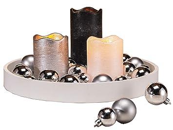 Meinposten 3 Led Kerzen Tablett Schwarz Weiss Silber Kerze