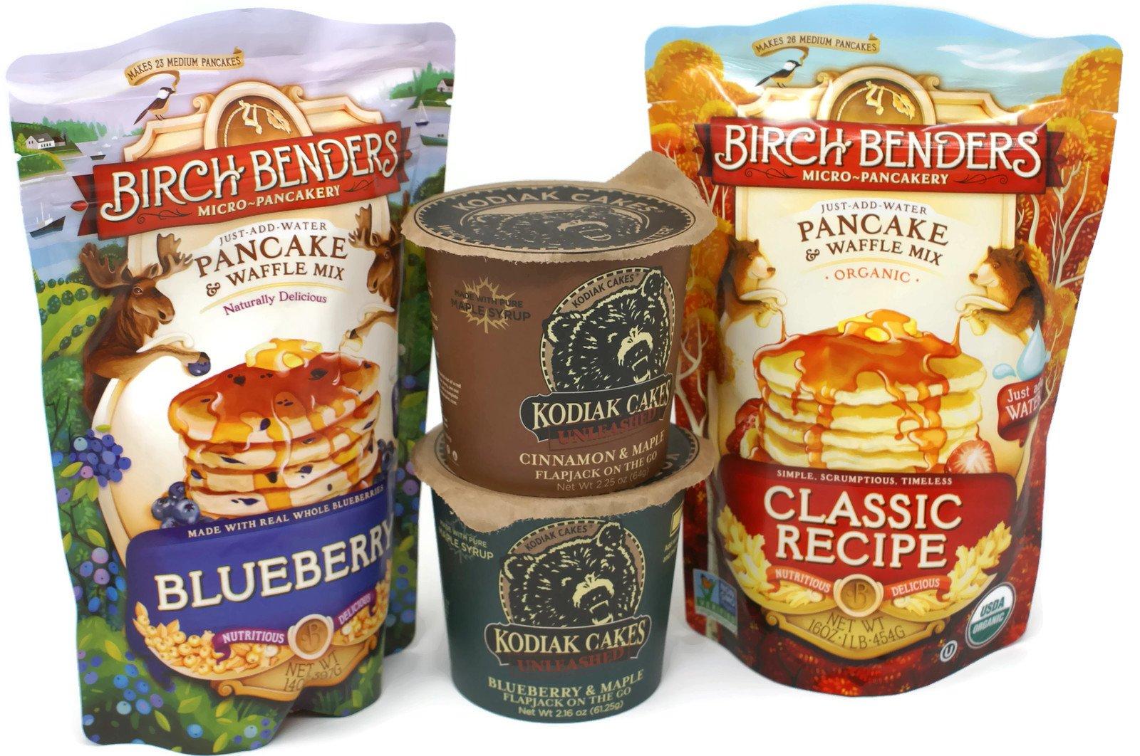 Variety Pack - Birch Benders Organic Pancake & Waffle Mix - Classic (16 oz), Blueberry (14 oz) - Kodiak Cakes Unleashed Flapjack on the Go - Blueberry & Maple (2.16 oz), Cinnamon & Maple (2.25 oz)