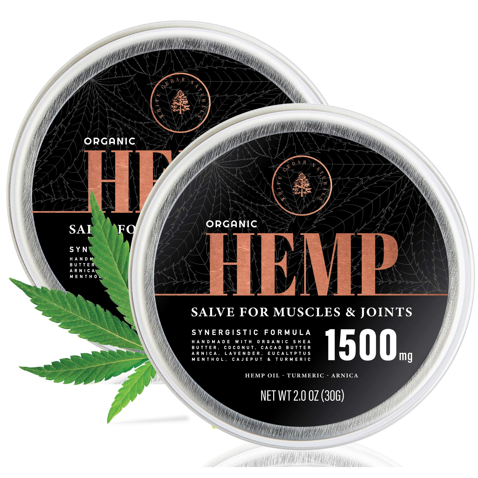 (2-Pack) Organic Hemp Salve - 1500MG - Anti Inflammatory Cream for Back, Joints & Muscles - Handmade Pain Relief Rubs with Arnica Montana, Menthol, Aloe Leaf, Shea Butter & Turmeric - 2oz by CBD Oil for Pain Relief Research Lab
