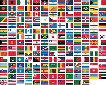 Amazon Com United Nations 3 X 5 Polyester World Flag Set 194 Polyester 3 X5 Flags One Flag For Each Country In The Un Includes The United Nations Flag Office Products