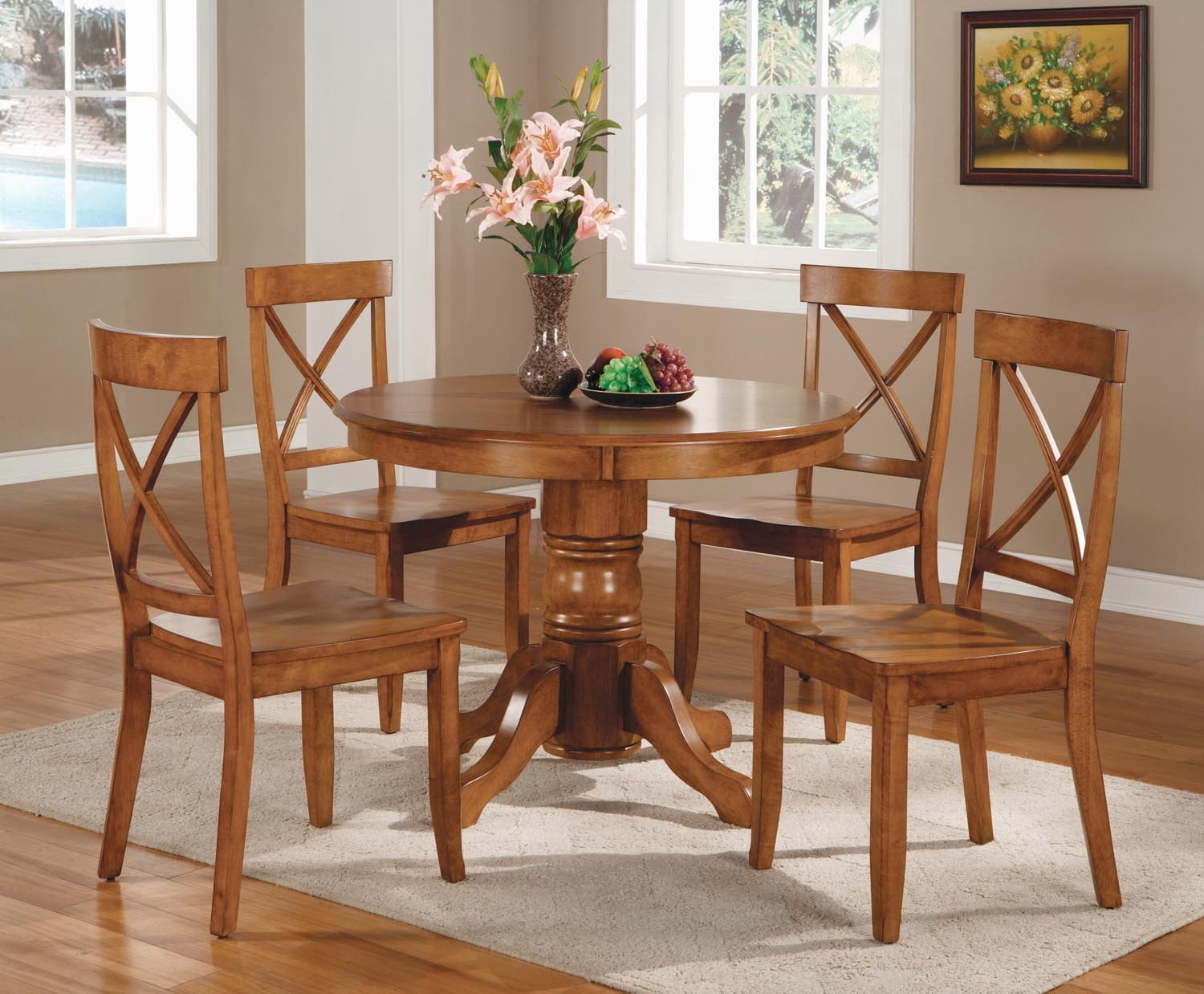 amazoncom home styles 5piece dining set black and cottage oak finish kitchen u0026 dining room furniture
