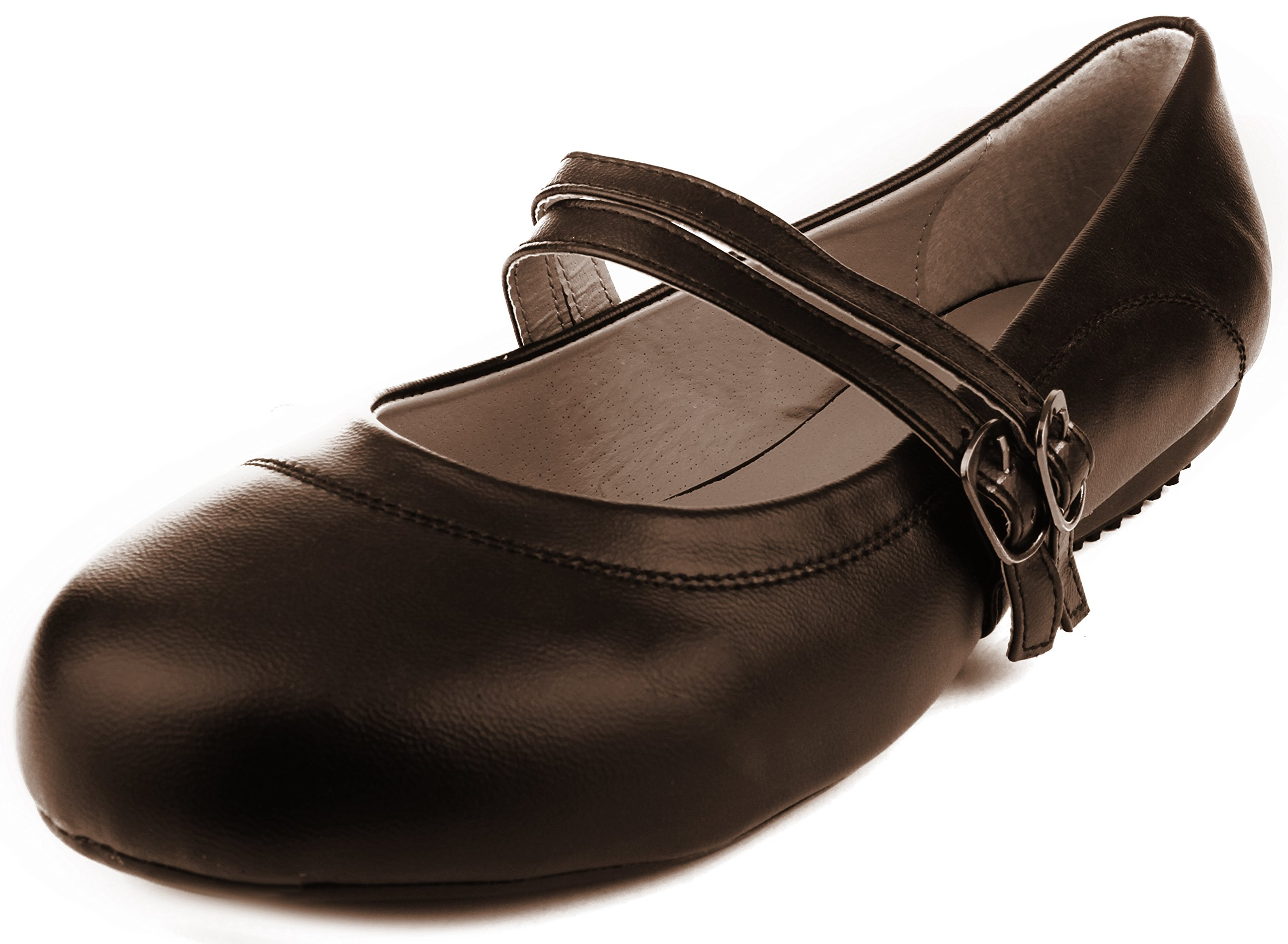Enimay Women's Business Casual Mary Jane Double Strap With Buckle Dress Shoe Brown Size 7.5