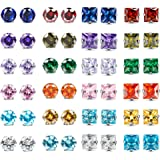 XCOIN 24 Pairs Stainless Steel CZ Stud Earrings for Women Men Round Square Cubic Zirconia Birthstone Earrings Piercing Set Je
