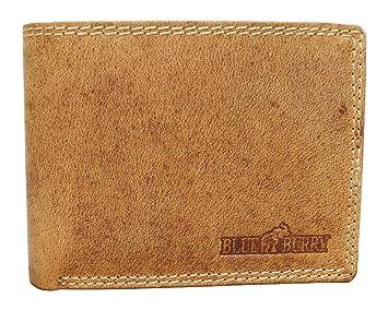 18fafd4902992 Blue Burry Herren Geldbörse mit RFID Schutz Portemonnaie aus echtem Leder  Usedlook Vintage-Leder schlankes