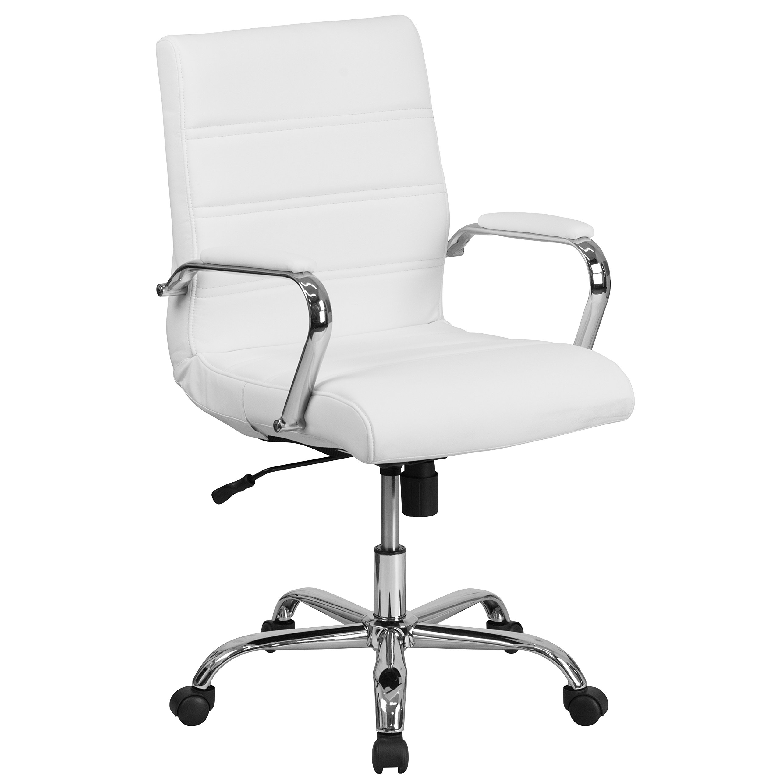 Flash Furniture Mid-Back White Leather Executive Swivel Chair with Chrome Base and Arms by Flash Furniture