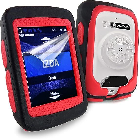 Red TUFF LUV Silicone Twin Dual layer Skin Case for Garmin Edge 520 Black