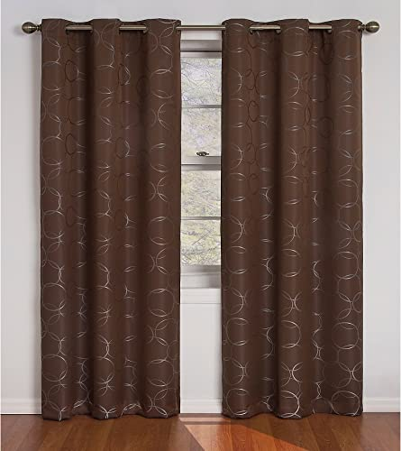 Eclipse Meridian 84-Inch Blackout Window Curtain Panel, Brown