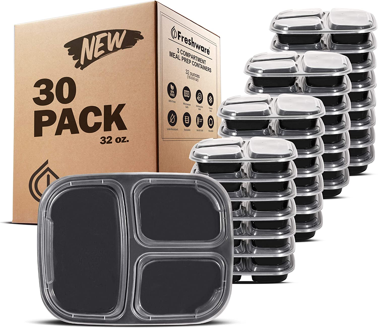 Freshware Meal Prep Containers [30 Pack] 3 Compartment Bento Box, Food Storage Containers with Lids | Stackable | Microwave/Dishwasher/Freezer Safe, Portion Control (32 Ounce)