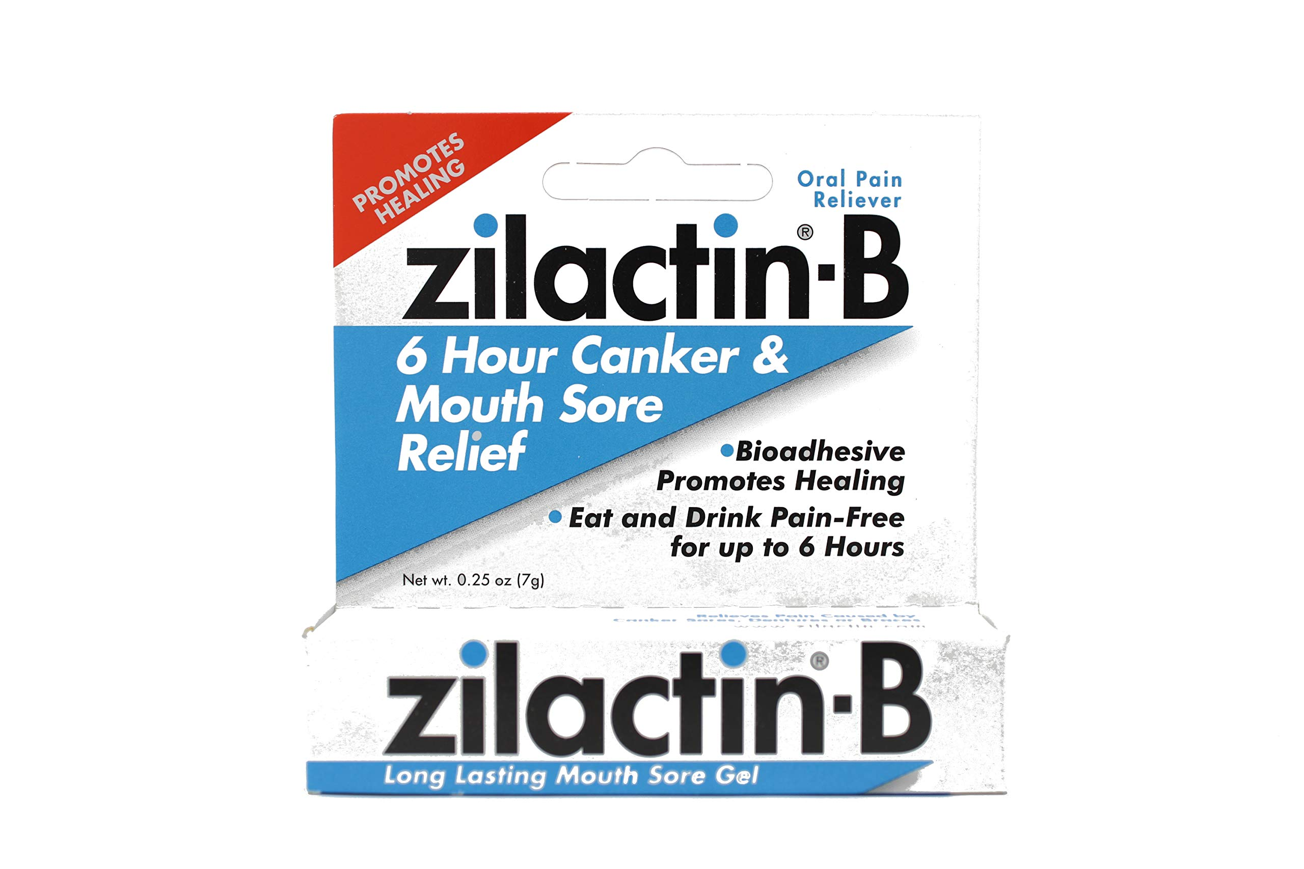 Zilactin-B Oral Pain Reliever, Long Lasting Mouth Sore Gel 0.25 oz (Pack of 9)