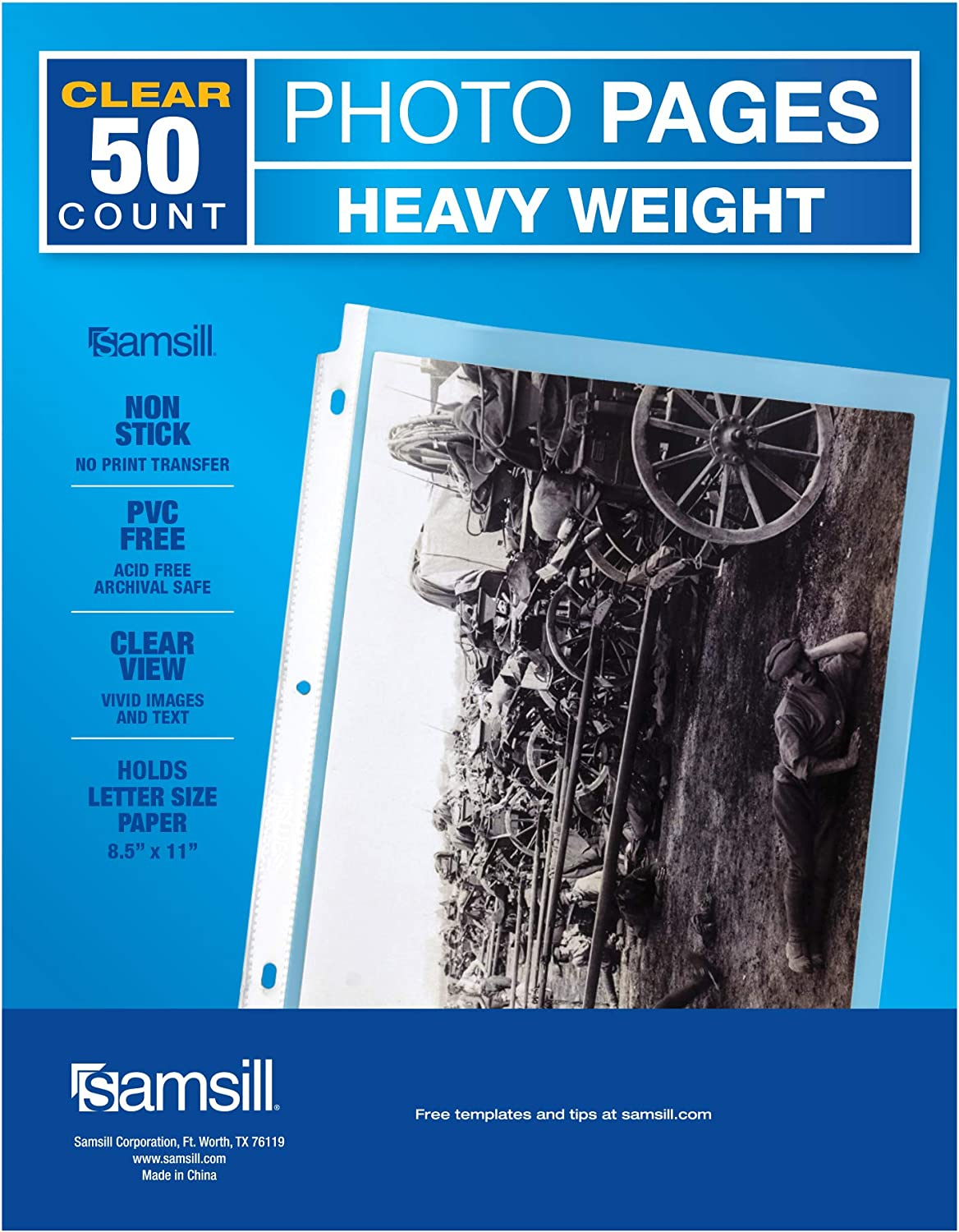 """Samsill 50 Pack Full Page 8.5"""" x 11"""" Photo Storage, Fits in Standard 3 Ring Photo Album Binder"""