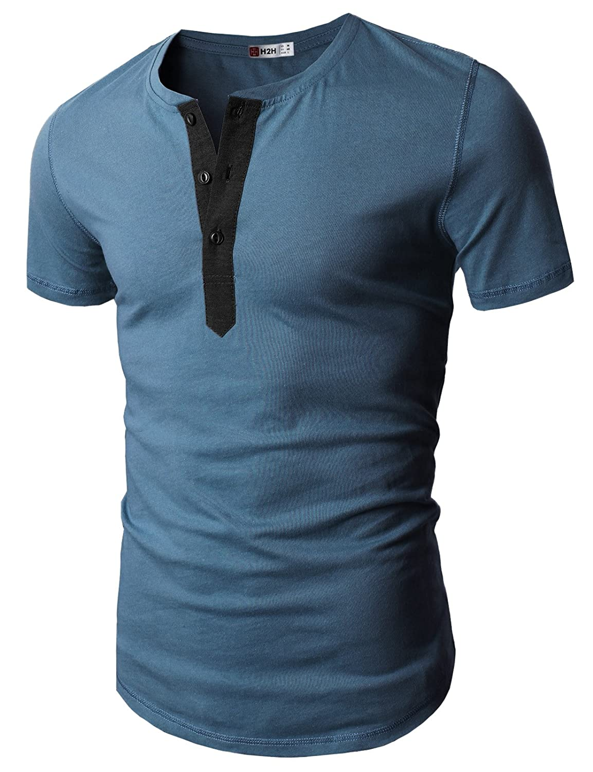 H2H Mens Casual Slim Fit Short Sleeve Henley T-Shirts Crew-Neck Basic Designed #D15S_KMT05S