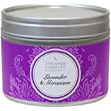"""Shearer Candles Small """"Lavender and Geranium"""" Scented Tin Candle, White"""