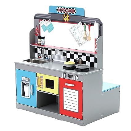 Amazon.com: Teamson Kids Brooklyn Play Kitchen, Grey/ Petrol ...