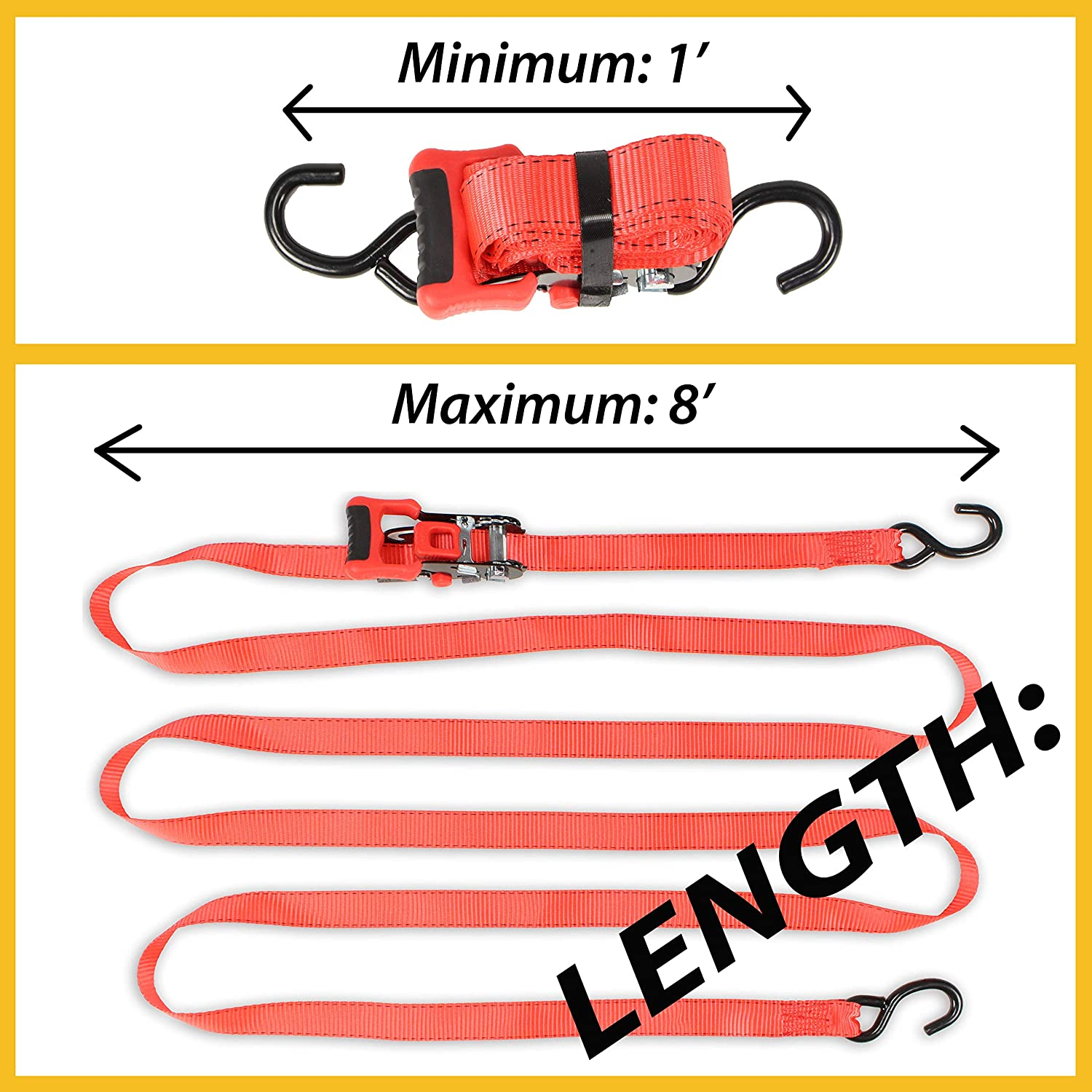 1.25 x 14 Long Easy Slide Ratchet Tie-Down Straps w//S Hooks 2 Ultimate Adjustable Ratcheting Strap Cargo TieDowns w//NO Fixed End