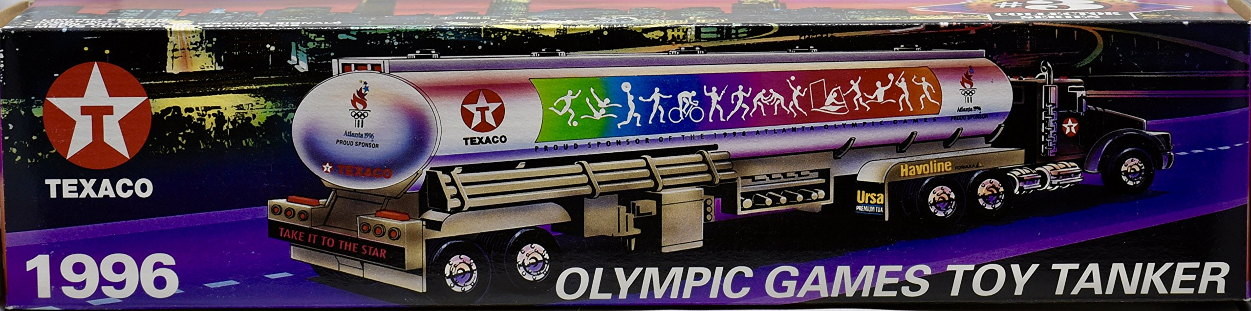 1996 - Texaco : #3 Collector Series - Olympic Games Toy Tanker - Working Lights / Horn & Backing Alerts - 14 Inches - OOP - New - Collectible