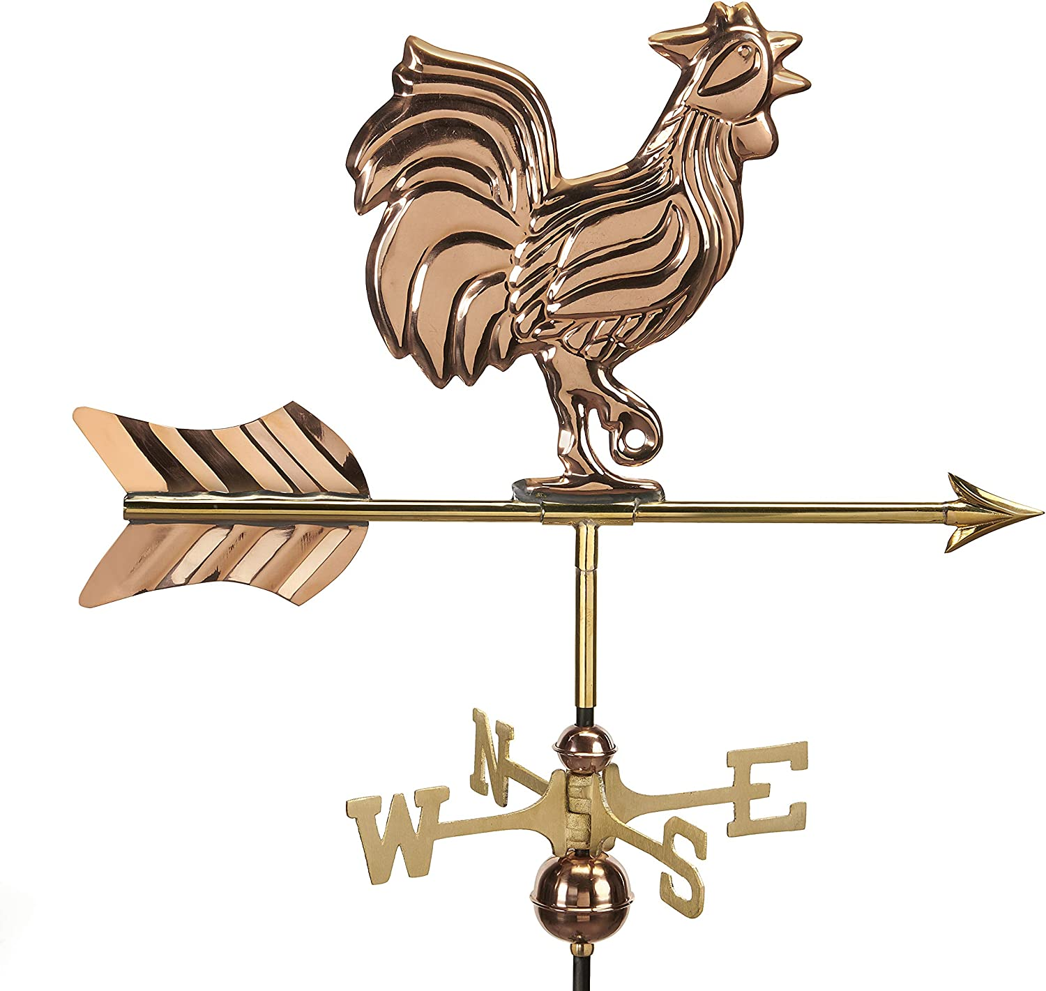 Good Directions 802PR Rooster Cottage Weathervane, Polished Copper with Roof Mount