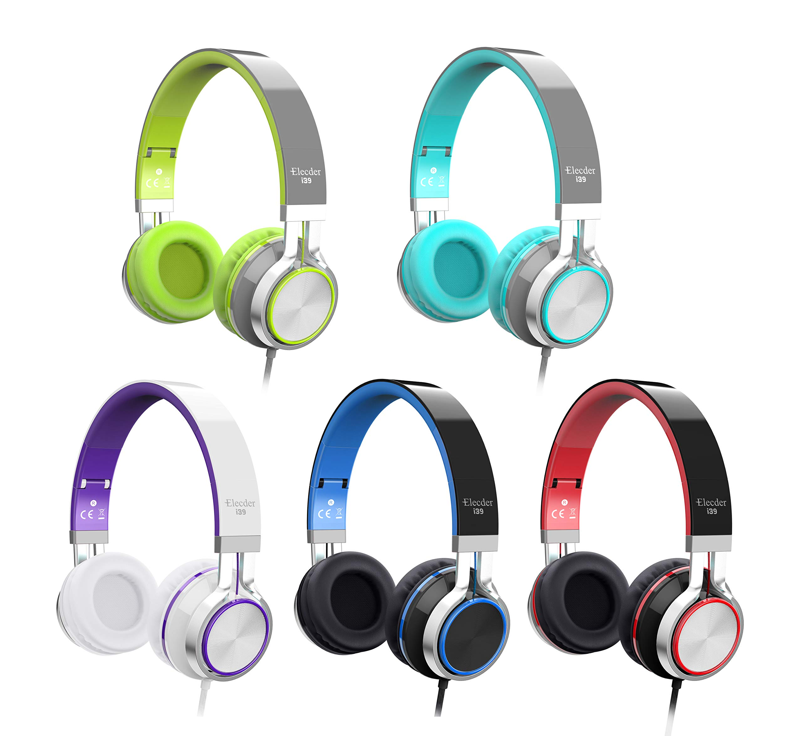 Elecder i39 Headphones with Microphone Kids Children Girls Boys Teens Foldable Adjustable Wired On Ear Headsets Compatible iPad Cellphones Computer MP3/4 Blue/Black by ELECDER (Image #9)