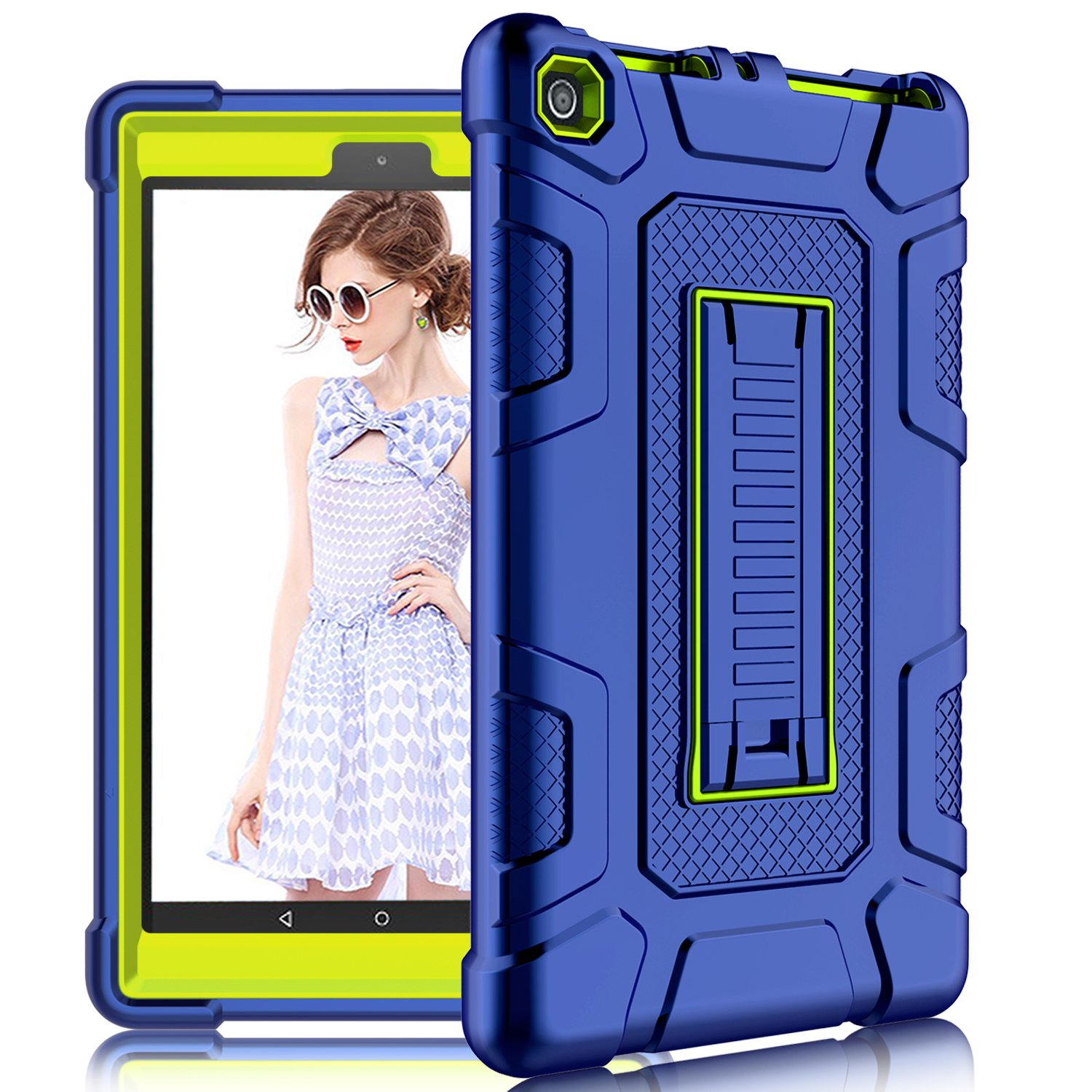 DONWELL Fire 8 2017 Case New Hybrid Shockproof Defender Protective Armor Cover with Kickstand for Amazon Kindle Fire 8 2017/All-New Amazon Fire HD 8 (Navy Blue/Lemon Yellow)