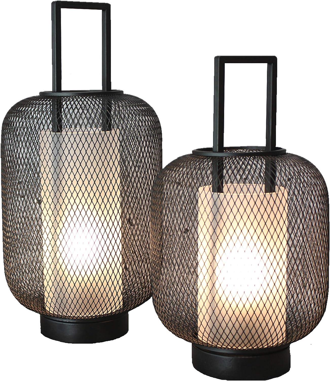 impermeabili agli spruzzi per uso esterno Set di 2 lanterne decorative a LED per esterni e interni FlinQ con luce bianca calda e dimmer IP44 senza fili e con funzione timer