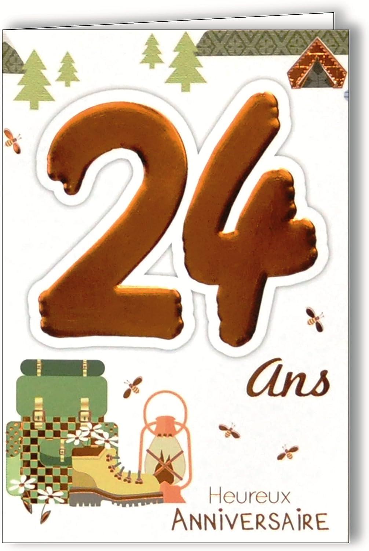 Age Mv 69 2026 Carte Anniversaire 24 Ans Jeune Homme Femme Motif Marche A Pied Randonnee Camping Fleurs Nature Amazon Fr Fournitures De Bureau