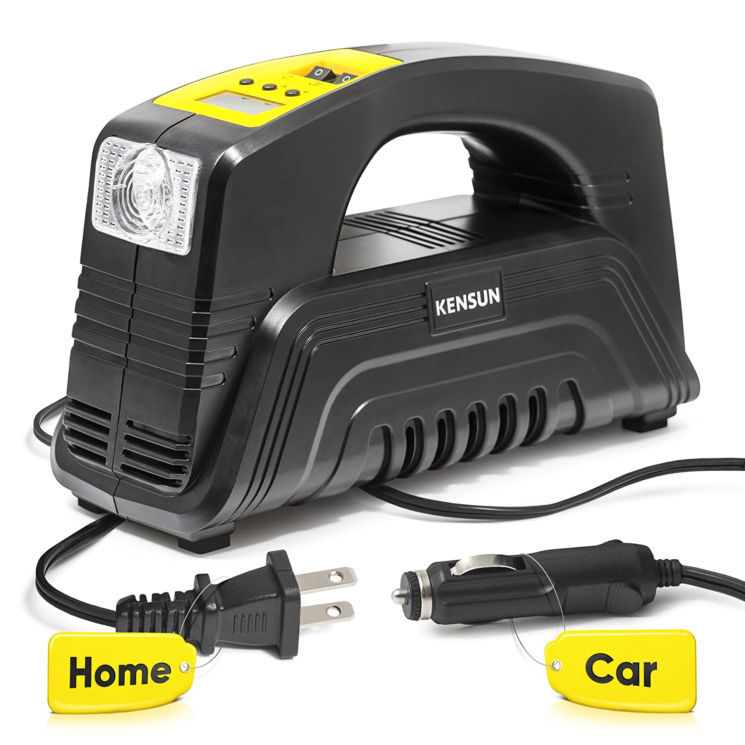 Kensun AC/DC Rapid Performance Portable Air Compressor Tire Inflator with Digital Display for Home (110V) and Car (12V) - 30 Litres/Min Kensun-EHRComp-A58A