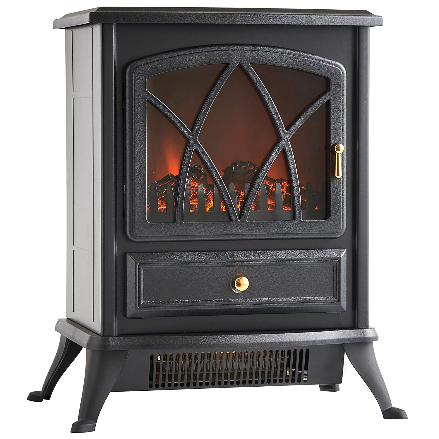 Amazon.com: VonHaus Free Standing Electric Stove Heater Portable Home Fireplace with Log Burning Flame Effect Adjustable 1500W (16.8W x 10.8L x 20H inches - Black): Home & Kitchen