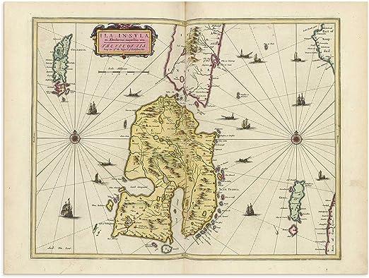 Isle of Islay Old Map by Johan Blaeu early Seventeenth Century