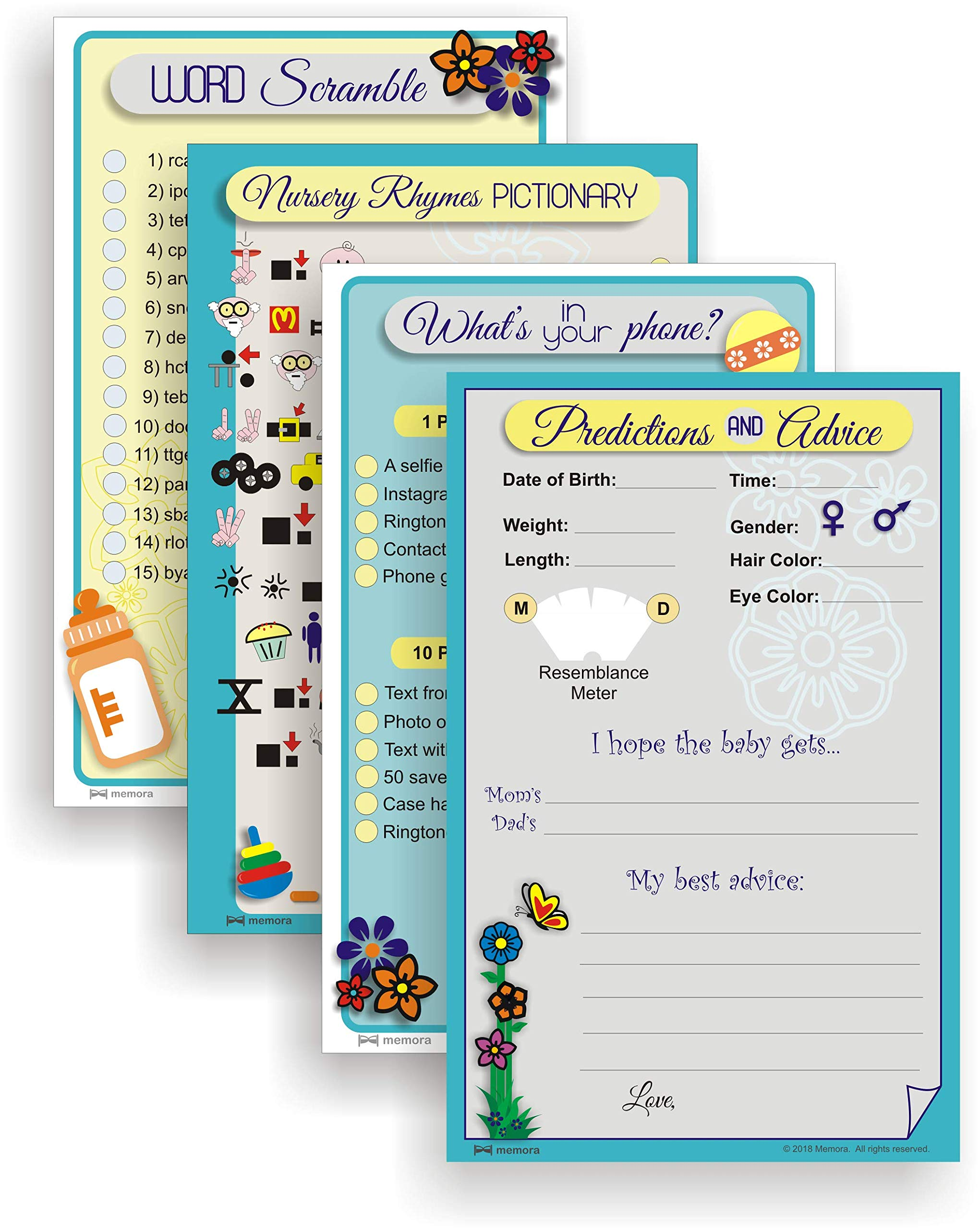 Baby Shower Games with FREE Party Planning Guide!- Set of 4 games in neutral designs, Large 8.5'' x 5.5'' cards, For 25 guests or teams.