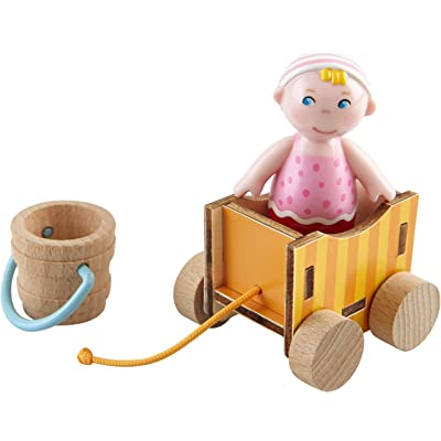 """HABA Little Friends Baby Nora - 2.75"""" Chunky Plastic Baby Figure with Wagon and Pail: Toys & Games"""