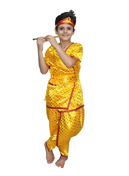 Buy KAKU FANCY DRESSES Kid\u0027s Polyester Krishna Costume (5,6 Years, Yellow)  Online at Low Prices in India , Amazon.in