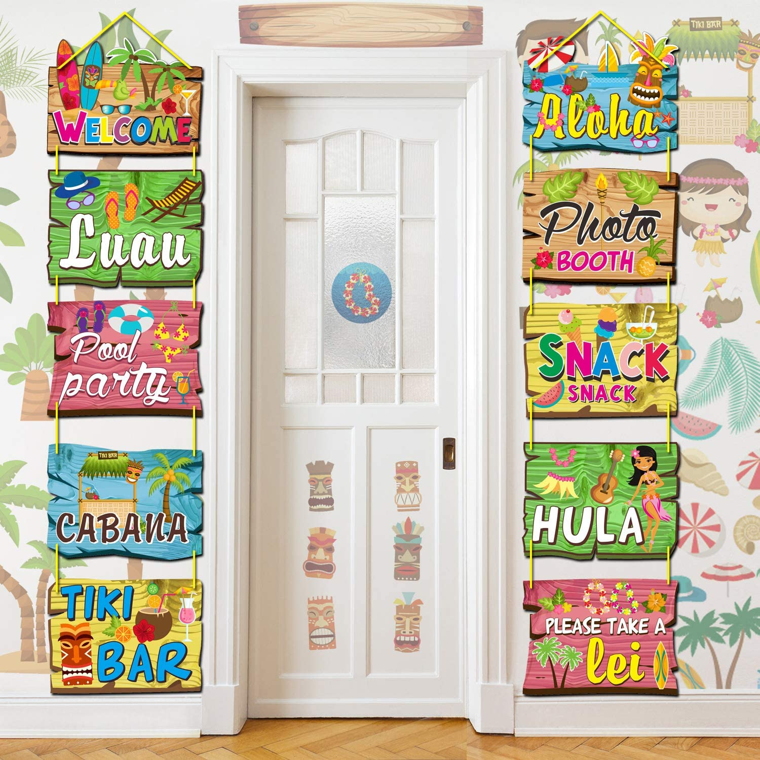 Luau Party Signs Aloha Welcome Signage Tropical Summer Birthday Party Hawaiian Party Baby Shower Yard Decorations Tiki Bar Photo Props Cutout – 15 Pieces