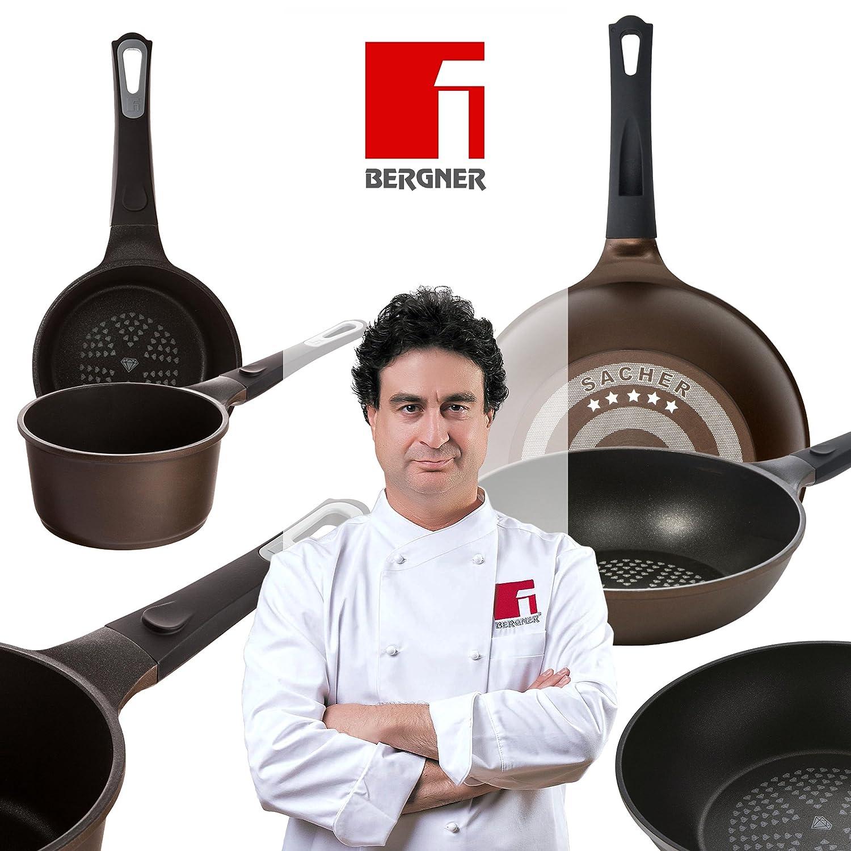 Bergner Sacher: Juego de útiles de cocina: Cazo 16 y Sartén Wok 28 cms.: Amazon.es: Hogar