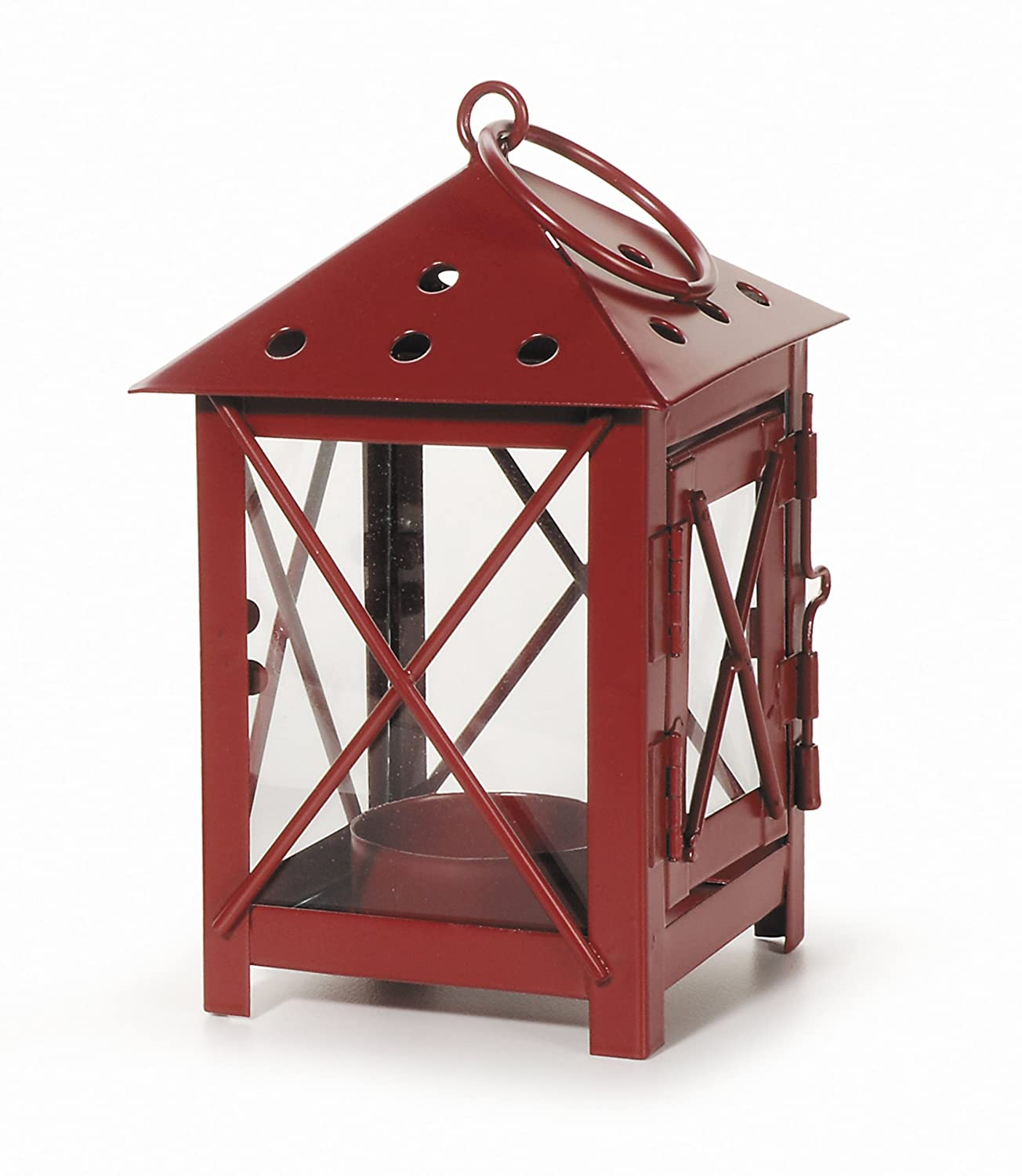 Darice 5228-12RED Metal Lantern 3 by 3 by 5.5-Inch Red